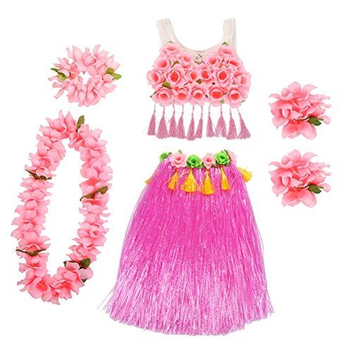 Amosfun Hawaii Tropical Hula Grass Tanzen Rock Mädchen Kostüm Anzug Blume Armbänder Kopf Schleife Hals Kranz Hosenträger Korsett Set