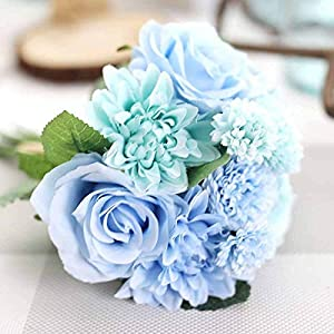 Artificial and Dried Flower Silk Rose & Dahlia Artificial Bouquet 1 Bunch Wedding Flowers Ideas Bridesmaid Bridal Bouquets Wedding Decoration