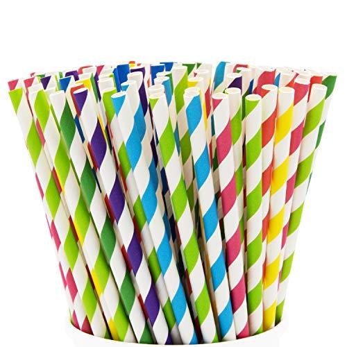 Comfy Package Pajitas de Papel [Paquete de 200] 100% Biodegradable - Colores Surtidos