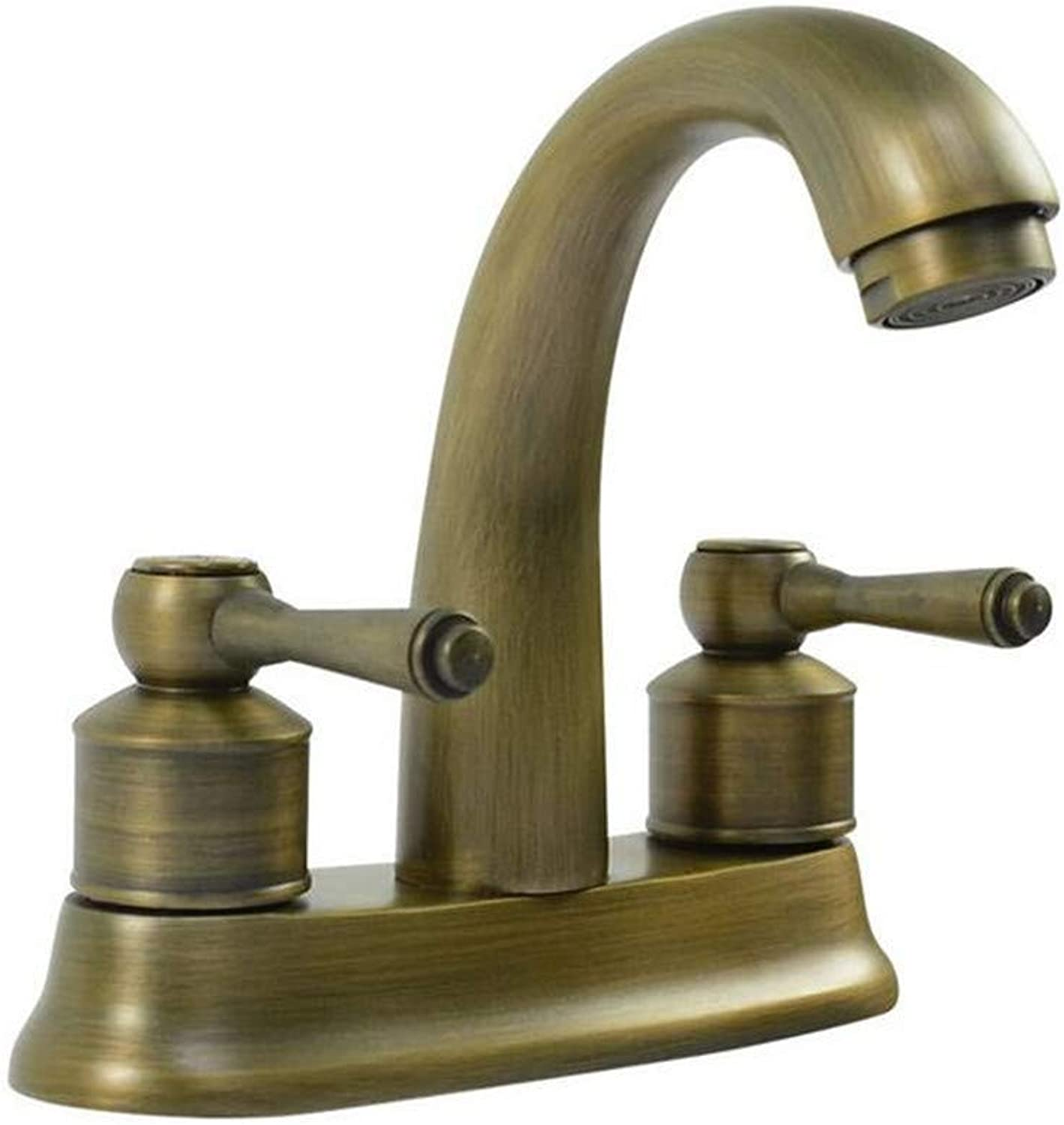 Basin Double Hole hot and Cold Water Antique Hand wash Basin Toilet Bathroom Basin Mixing Faucet