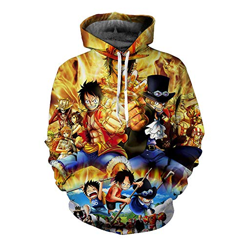 Duess Cosplay Hoodie One Piece Sweatshirt Luffy Sportswear Anime Pullover, C, Medium