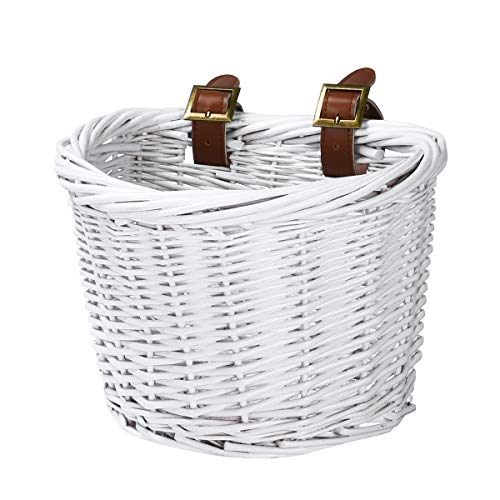 YEHTEH Wicker Bike Basket, Colorful Bicycle Basket, Size L10 x W8x H7 inch (White)