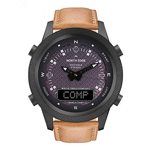 APROTII Reloj digital solar para hombre con diseño de brújula de cuenta regresiva y cronómetro para hombre