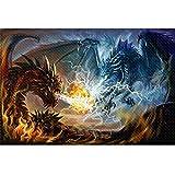 Puzle de 1000 piezas (largo), para adultos, 1000 piezas, diseño de dragón de fuego y electromagnético, para actividades de interior, juego familiar