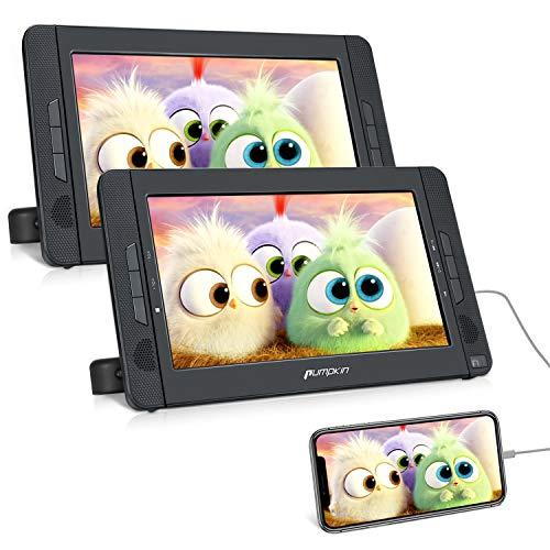 """PUMPKIN DVD Portátil Coche con 2 Pantallas con Entrada HDMI para Niño, 10.1"""" Reproductor de DVD para Reposacabezas soporta Tarjeta SD/USB/AV-out con 4-5 Horas Duración, con Control Remoto"""