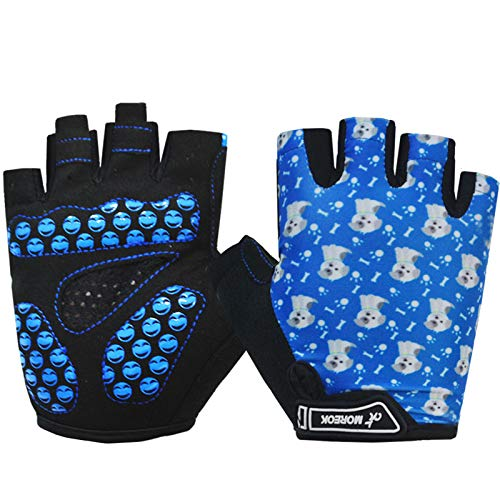 MOREOK Kids Cycling Gloves,Gel Padding Bicycle Half Finger Pair Dog Bars, Fit Boy Girl Youth Age 2-11, Outdoor Sport Road Mountain Bike Gloves Blue-M
