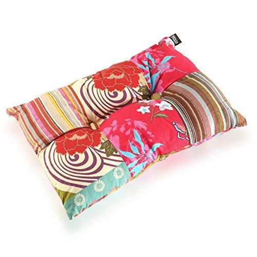 Versa - Pink Patchwork Cojín Decorativo con relleno Rectangular de Algodón para Sofá, Sillón, Cama, Sillas, 15 x 30 x 50 cm, Rosa, Rojo y Azul
