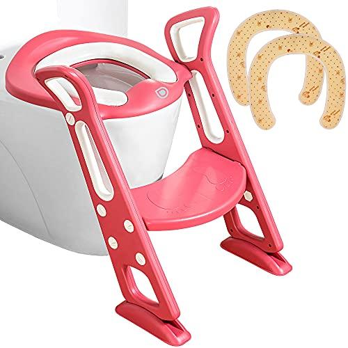 Toilettentrainer mit Treppe Extra 2x kostenlose Baumwollaufsätze | WC-Aufsatz für Kleinkinder Töpfchentrainer | Rutschfest Stabil Klappbar & Höhenverstellbar | Für 2-7-Jährige (Rot)