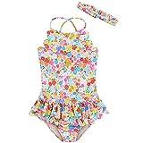 mini eggs Baby Girl One Piece Swimsuit Swimwear with Headband Summer Toddler Sleeveless Bikini Quick Dry Beach Bathing Suits 4-5y 13
