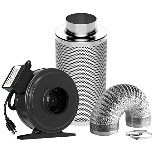 VIVOSUN Air Filtration Kit: 4 Inch 203 CFM Inline Fan, 4'' Carbon...