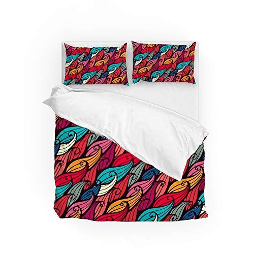 HAOXIANG Juego de funda de edredón de 3 piezas, colorido, cepillo de escritura, suave, resistente a las arrugas, funda de edredón con 2 fundas de almohada para cama individual