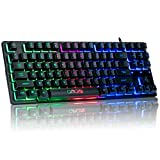 RGB Compact Gaming Keyboard, CHONCHOW USB Wired 87 Keys Gaming Keyboard LED Rainbow Backlit Tenkeyless Gaming Keyboard TKL Keyboard Gaming RGB Keyboard for Laptop Ps4 PC Computer Game and Work