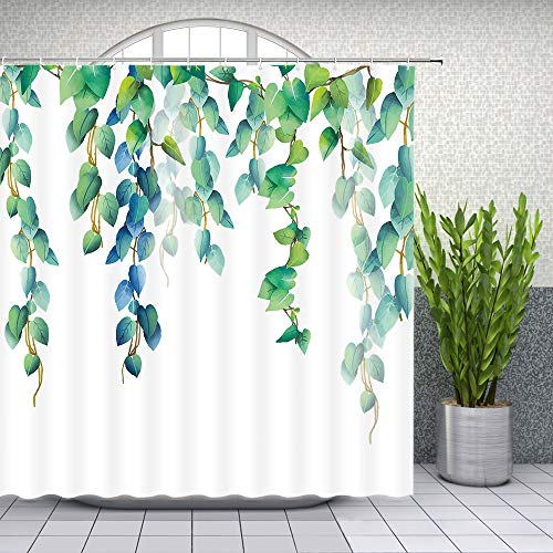 Lileihao Green Leaves Shower Curtain Spring Watercolor Plant Floral Bathroom Decor Designer Waterproof Polyester Fabric Home Bath Accessories Hanging Curtains Sets 69 x 70 Inch with Hooks