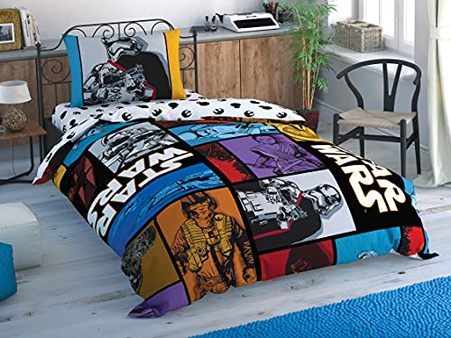 Tac Star Wars Force Away - Juego de funda de edredón para cama individual, algodón