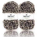 NICEEC 2 Skeins Super Soft Fur Yarn Chunky Fluffy...