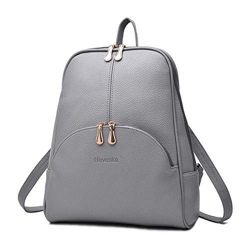 Nevenka Brand Women Bags Backpack PU Leather Zipper Bags Women Casual Backpacks Shoulder Bag Book Bags (Gray)
