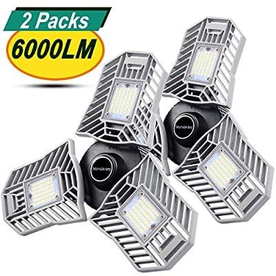 2-Pack Garage Lights 60W LED Garage Lighting - 6000LM 6500K LED 3-Leaf Garage Ceiling Light Fixtures, LED Garage Light with Adjustable Multi-Position Panels, Triple Glow Light for Garage, Workshop