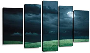 Hilly meadow at night with full moon, clouds and grass Modern Art Painting set Digital Print Picture on Canvas Framed Artwork Wall Decor Living Room Office Bedroom 5 Pieces