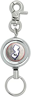 New Jersey NJ State Outline on Faded Blue Lanyard Belt ID Badge Key Retractable Reel Holder