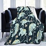 D-WOLVES Manatee Ultra Soft Sherpa Blanket Fleece Blanket for Men & Women- All Season Warm Fluffy Lightweight Thermal Throw Blanket for Outdoor Indoor,40x50 in