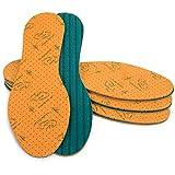SULPO - 4 pares de plantillas con extracto de aloe vera, plantillas para zapatos contra los pies de sudor, plantillas para un aroma fresco, suelas de espuma de látex, repelente de olores,