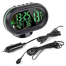 Pevor Car 12V LCD Luminous Clock Digital Thermometer Temperature Gauge Voltmeter Alarm Monitor