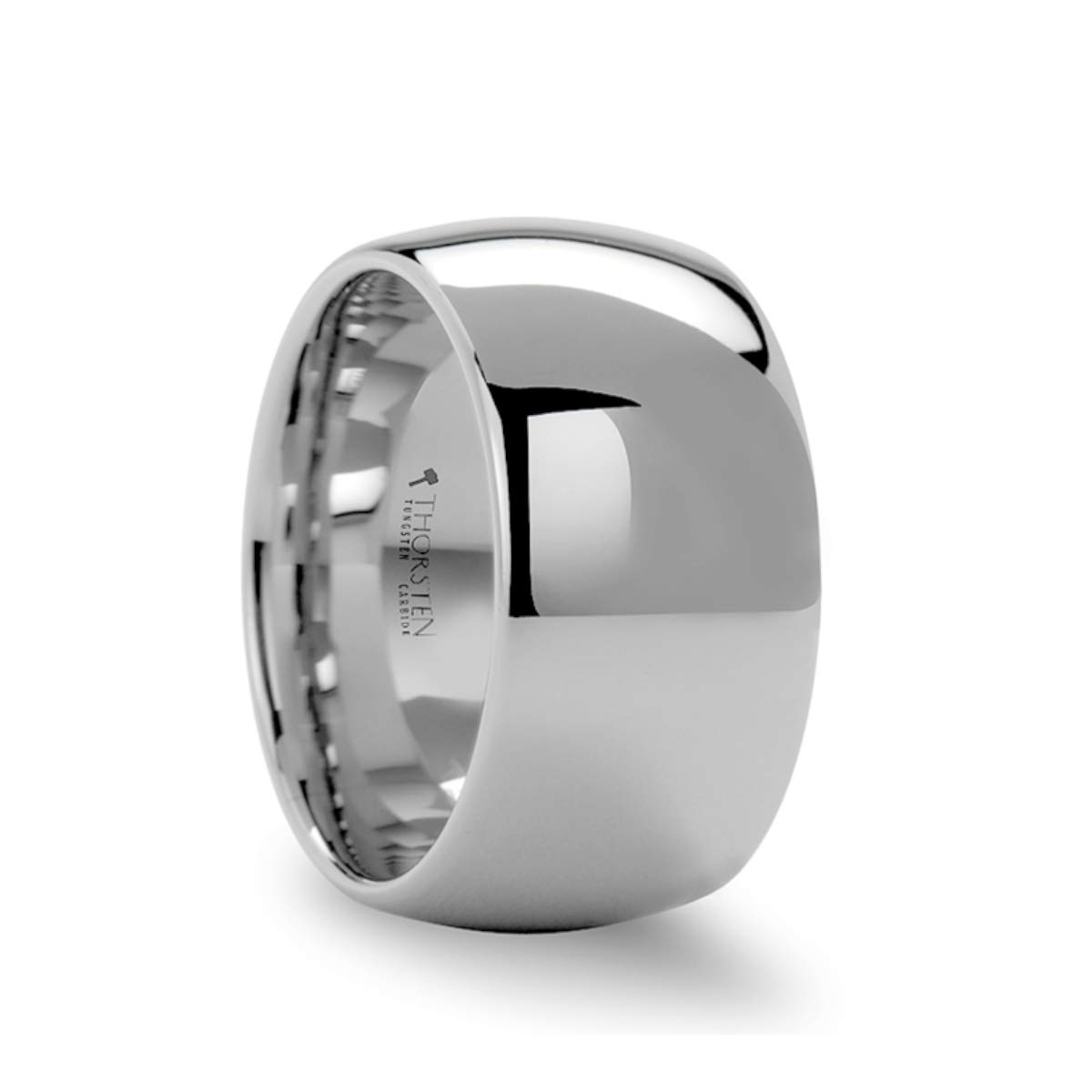 Thorsten Chandler Hammered Finish Domed White Tungsten Ring 6mm Wide Wedding Band from Roy Rose Jewelry