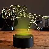 Créatif 3D Arme Nuit Lampe 7 Couleurs Changeantes Puissance USB Contact Switch Lampe Décorative Illusion Optique LED Lampe de Table Anniversaire Noël Cadeau Enfants Jouets