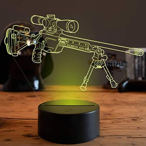 Optische Täuschung 3D Waffe Nacht Licht 7 Farben Andern Sich USB Adapter Touch Schalter Dekor Lampe LED Lampe Tisch Kinder Brithday weihnachten Geschenk