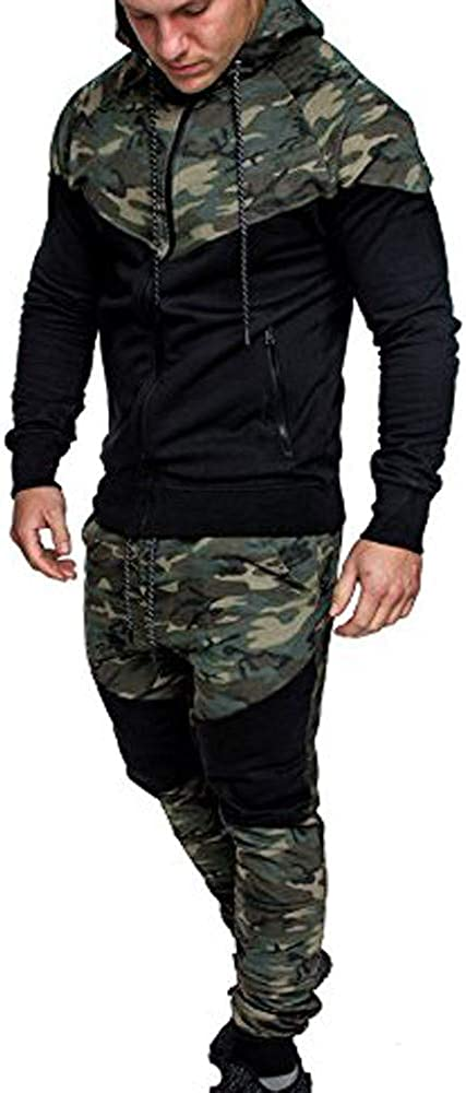 Mens Autumn Winter Camo Patchwork Lightweight Casual Long Sleeve Sweatshirts Hoodies &Pants Sets Tracksuits Sport Suits