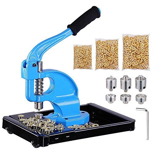 Yescom 3 Dies(#0/#2/#4) Hand Press Grommet Machine w/ 900 Pcs Golden Grommets Eyelet & Rolling Base Tool Kit