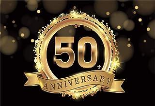 Happy 50th Anniversary Hintergrund Gold Glitter NWH04999, LWH04999, 9x6ft