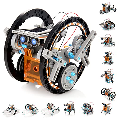 KIDWILL Solar Robot Kit for Kids, 14-in-1 Educational STEM Science Toy, Solar Power Building Kit DIY Assembly Battery Operated Robotic Set for Kids, Teens and Science Lovers