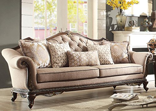 HEFX Bardonia Wood Trim Sofa in Chenille Coffee Brown