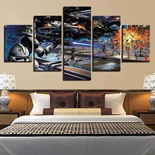 lcyqq Modulares Wandaufkleber-Dekor, Drucke auf Leinwand, 5-teiliges Gemälde, Wandplakat, HD-Druck, Weltraumschlacht, mit Rahmen