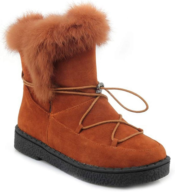 GIY Womens Winter Fur Snow Ankle Boots Suede Waterproof Flat Low Heel Elastic Boots Warm Snow Short Bootie