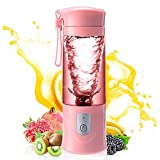 Portable blender, Mini Fruit Juicer Cup, Personal Small Electric Juice Mixer Machine with USB Rechargeable 4000mAh Battery Powered 420ML Travel Bottle (Pink)