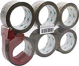 BOMEI PACK Cinta de embalaje marrón con dispensador, 48 mm x 66 m, paquete de 6 rollos, cinta de embalaje resistente