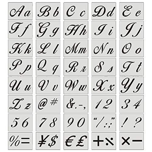 MINGZE 40 Piezas Plantillas De Letras, Reutilizables De Arte Caligrafía Alfabeto Plantillas De Plástico Lavables Para Pintar Letras Con Letras Mayúsculas Y Minúsculas, Números Y Signos