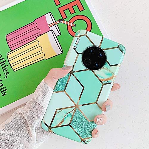 Saceebe Compatible avec Huawei Mate 30 Coque Silicone Motif Marbre Housse Etui de Protection Bumper Ultra Fine Bling TPU Silicone Souple Mince Léger Case Anti-Rayures Antichoc,Vert
