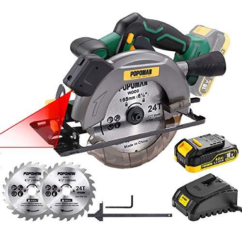 Sega Circolare, POPOMAN 18V Sega Circolare 4300RPM, una 4.0Ah Batteria, 1h Caricatore Rapido, Profondità di Taglio 52mm (90°), 35mm (45°), 2 Lame Ø 165mm per Tagliare Legno- MTW300B