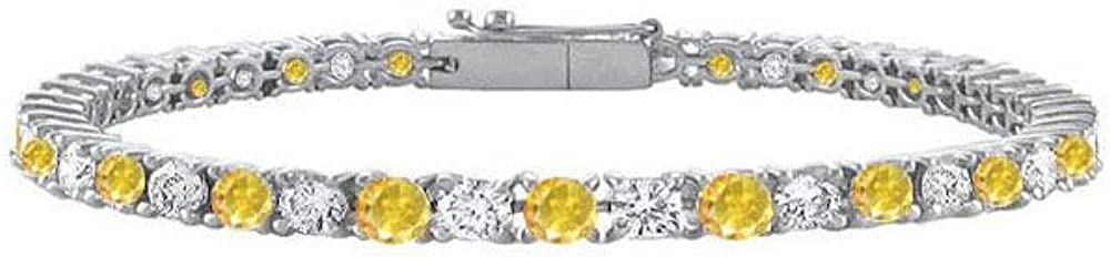 925 Sterling Silver Yellow Created Sapphire and Cubic Zirconia P