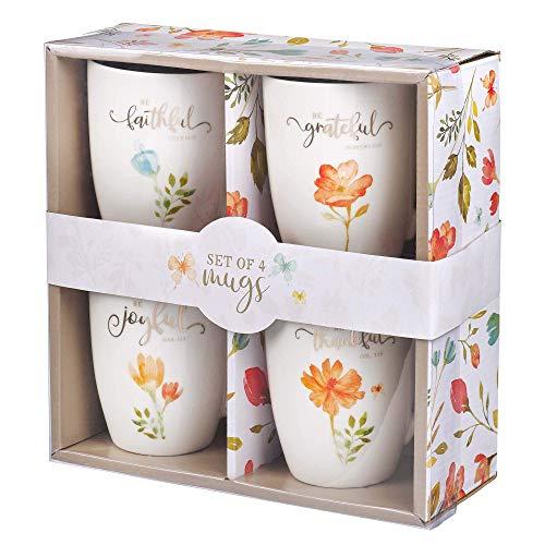 Christian Art Gifts Keramik-Kaffee-/Teetassen-Set für Frauen | Be Grateful, Faithful, Thankful, Joyful Bibelvers Tassen-Set | 4 Kaffeetassen