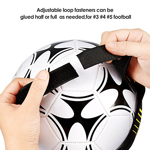 Kuyou Football Kick Trainer, Soccer Training Aid for Kids and Adults Hands Free Solo Practice,Volleyball/Rugby Training Equipment, Universal Fits #3#4#5 Footballs (Yellow)