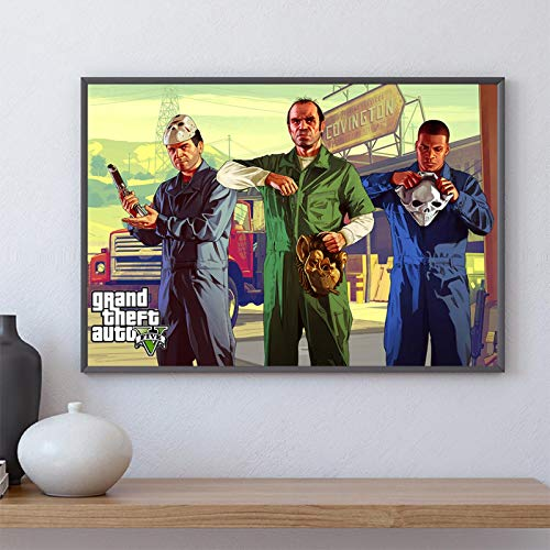 koushuiwa Póster Artístico Impreso Carteles De Pared GTA 5 Grand Theft Auto V Juego Pared Arte Imagen Lienzo Pintura Ac541 Sin Marco 50X70Cm