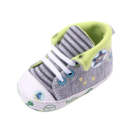 JERFER Babyschuhe Baby Mädchen oder Jungen Canvas Schuh Sneaker rutschfest weiche Sohle Kleinkind Leinenschuhe Krippe Schuhe(3~12 Monate) (12M, Grün)