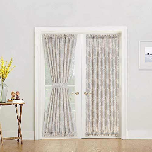 French Door Curtains Paisley Scroll Printed Linen Textured French Door Curtains 72 inches Long French Door Panels, Tieback Included, 1 Panel, Grey