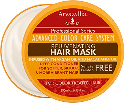 Rejuvenating Hair Mask and Deep Conditioner For Color Treated Hair with Argan Oil and Macadamia Oil By Arvazallia - Sulfate Free & Paraben Free