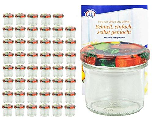 MamboCat 48er Set Sturzgläser 125 ml mit Obst Dekor Deckel to 66 inkl. Diamant Gelierzauber Rezeptheft Marmeladengläser Einmachgläser Einweckgläser