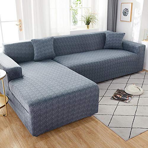 Fsogasilttlv Sofa Slipcover Reversible Sofa Cover 2 Seater and 3 Seater,Elastic Solid Sofa Cover Stretch All-Inclusive for Living Room, Sofa Couch Cover Arm Chair Cover 145-185cm and 190-230cm(2pcs)